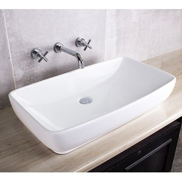 Soft Rectangle Countertop Basin 740x405x160mm White