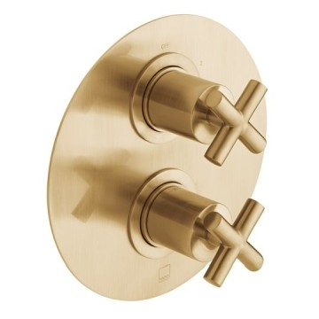 Elements 2 Outlet 2 Handle Concealed Thermostatic Shower Valve Wall Mounted Brushed Gold