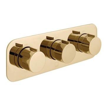 Altitude Horizontal Concealed 3 Outlet, 3 Handle Thermostatic Shower Valve with All-Flow Function Bright Gold