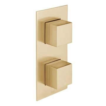 Notion Vertical Concealed 2 Outlet, 2 Handle Thermostatic Shower Valve with All-Flow Function Brushed Gold