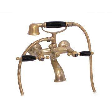 Antique Brass wall mounted bath mixer black lever