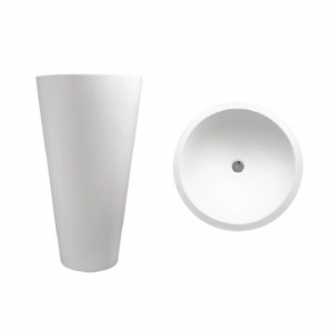 Annelie 910 Freestanding Round Pillar Basin No Taphole 500x500x910mm Pearl White