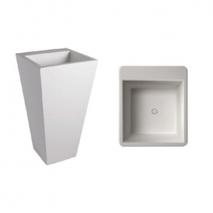 Edith 910 Square Freestanding Pillar Basin No Taphole 40kg 500x500x910mm Gloss White