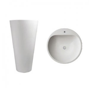 Annelie 910 Freestanding Round Pillar Basin w/ Taphole 500x500x910mm Gloss White