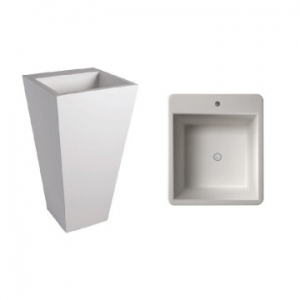 Edith 820 Square Freestanding Pillar Basin w/ Taphole 500x500x820mm Pearl White