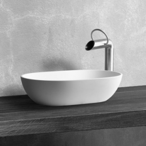 Dubai Countertop Basin 550x350x125mm Pearl White