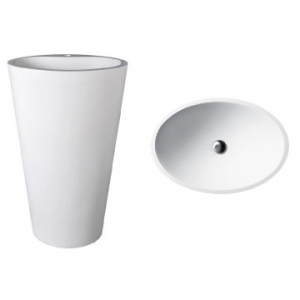 Mango 910 Freestanding Oval Pillar Basin No Taphole 580x400x910mm Gloss White