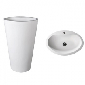 Mango 910 Freestanding Oval Pillar Basin w/ Taphole 580x400x910mm Gloss White