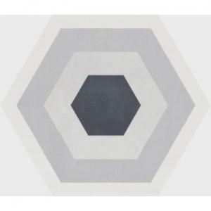 Stark Hex Floor Tile Porcelain 250x290mm Décor Gris
