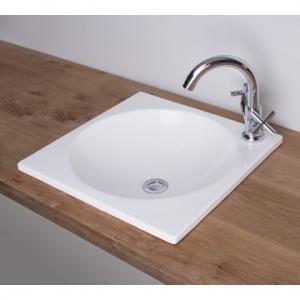 Cube Large Recessed Basin 450x450x20mm White