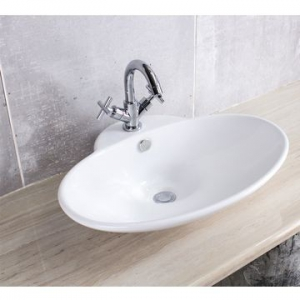 Oval Countertop Basin with tap hole 600x370x130mm White