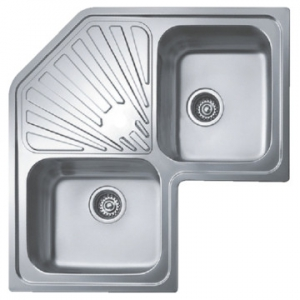 Classic Angular Reversible Double Bowl Drop-In Sink 830x830x187mm Polished Stainless Steel