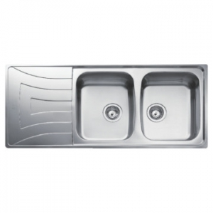 Universo 2B 1D Reversible Double Bowl Drop-In Sink with Single Drainer 1160x500x160mm Polished Stainless Steel
