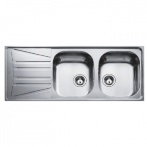 Basico 2B 1D Reversible Double Bowl Drop-In Sink with Single Drainer 1160x500x150mm Unpolished Stainless Steel