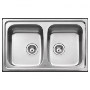 Basico 2B Double Bowl Drop-In Sink 790x500x150mm Unpolished Stainless Steel