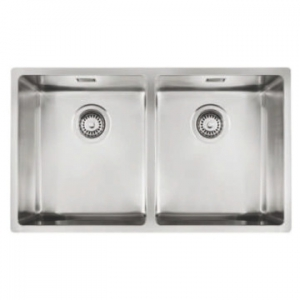 Linea R15 2B 740 Double Bowl Underslung Sink 740x440x200mm Polished Stainless Steel