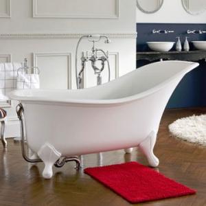 Drayton Freestanding Bath with Overflow & Drayton Feet w/Englishcast 1700x840mm White
