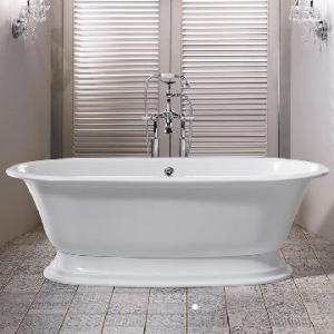 Elwick Freestanding Dbl-Ended Bath w/Plinth & Overflow 1902x910x622mm White