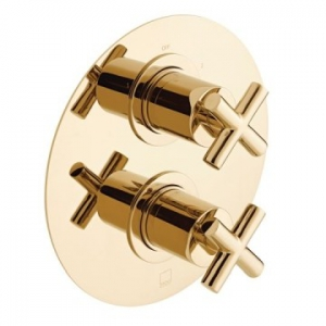 Elements 2 Outlet 2 Handle Concealed Thermostatic Shower Valve Wall Mounted Bright Gold
