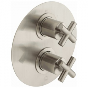 Elements 2 Outlet 2 Handle Concealed Thermostatic Shower Valve Wall Mounted Brushed Nickel