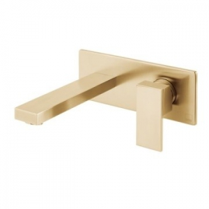 Notion Wall Mounted Single Lever Mixer with Wall Spout 220mm Brushed Gold
