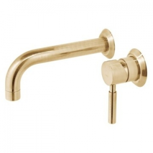 Origins Wall Mounted Single Lever Mixer with Wall Spout 220mm Brushed Gold