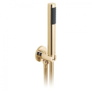 Round Single Function Mini Shower Kit with Integrated Outlet & Bracket Wall Mounted Bright Gold