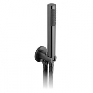 Round Single Function Mini Shower Kit with Integrated Outlet & Bracket Wall Mounted Black