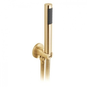 Round Single Function Mini Shower Kit with Integrated Outlet & Bracket Wall Mounted Brushed Gold