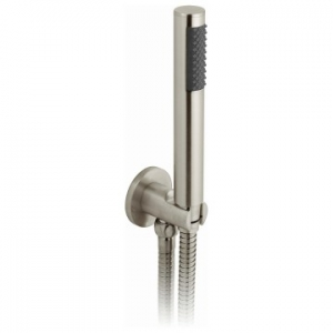 Round Single Function Mini Shower Kit with Integrated Outlet & Bracket Wall Mounted Brushed Nickel