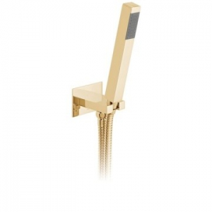 Square Single Function Mini Shower Kit with Integrated Outlet & Bracket Wall Mounted Bright Gold