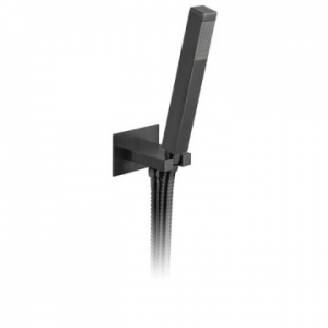Square Single Function Mini Shower Kit with Integrated Outlet & Bracket Wall Mounted Brushed Black