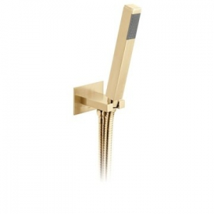 Square Single Function Mini Shower Kit with Integrated Outlet & Bracket Wall Mounted Brushed Gold