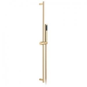 Round Slide Rail Shower Kit with Single-Function Shower Handset 900mm Slide Rail & Hose Bright Gold