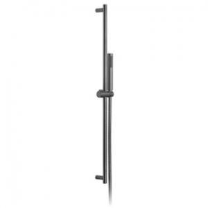 Round Slide Rail Shower Kit with Single-Function Shower Handset 900mm Slide Rail & Hose Brushed Black