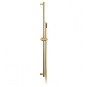 Round Slide Rail Shower Kit with Single-Function Shower Handset 900mm Slide Rail & Hose Brushed Gold