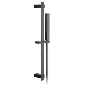 Square Slide Rail Shower Kit with Single-Function Shower Handset 600mm Slide Rail & Hose Brushed Black