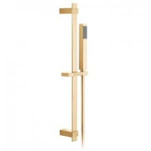 Square Slide Rail Shower Kit with Single-Function Shower Handset 600mm Slide Rail & Hose Brushed Gold