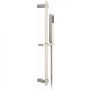Square Slide Rail Shower Kit with Single-Function Shower Handset 600mm Slide Rail & Hose Brushed Nickel