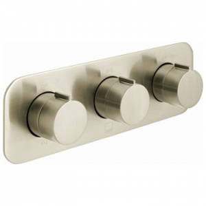 Altitude Horizontal Concealed 3 Outlet, 3 Handle Thermostatic Shower Valve with All-Flow Function Brushed Nickel