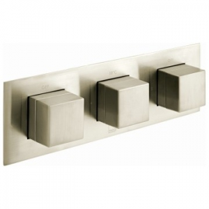 Notion Horizontal Concealed 3 Outlet, 3 Handle Thermostatic Shower Valve with All-Flow Function Brushed Nickel