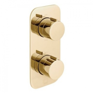 Altitude Vertical Concealed 2 Outlet, 2 Handle Thermostatic Shower Valve with All-Flow Function Bright Gold