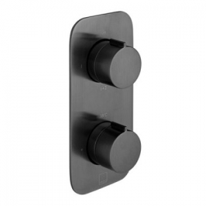 Altitude Vertical Concealed 2 Outlet, 2 Handle Thermostatic Shower Valve with All-Flow Function Black