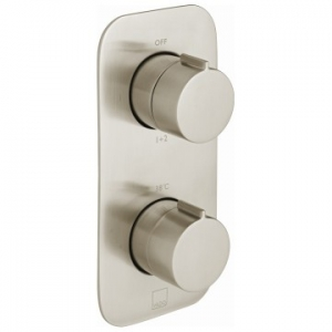 Altitude Vertical Concealed 2 Outlet, 2 Handle Thermostatic Shower Valve with All-Flow Function Brushed Nickel
