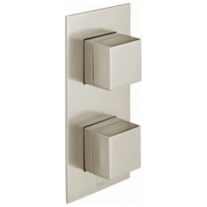 Notion Vertical Concealed 2 Outlet, 2 Handle Thermostatic Shower Valve with All-Flow Function Brushed Nickel