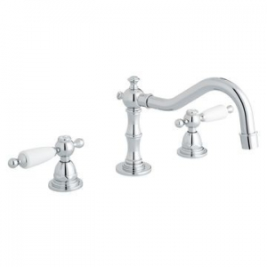 Kensington White Lever Basin Mixer 3-Hole Deck Mounted Chrome