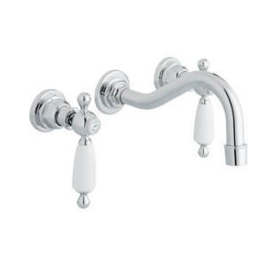 Kensington White Lever Basin Mixer 3-Hole Wall Mounted Chrome