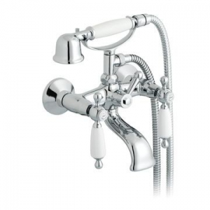 Kensington White Lever Bath Mixer Wall Mounted with Hand Shower Chrome