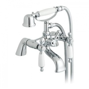 Kensington White Lever Bath Mixer Pillar Mounted with Hand Shower Chrome