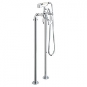 Kensington White Lever Bath Mixer Floor Mounted with Hand Shower Chrome